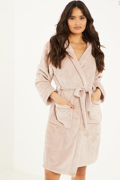 Mocha Hooded Fleece Robe